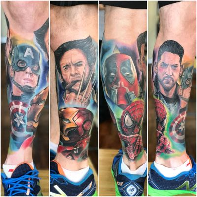 Mikey Lo at Boundless Tattoo Company added background to the lower half of my Marvel leg sleeve #MikeyLo #BoundlessTattooCompany #BTC #captainamerica #captainamericatattoo #ironman #ironmantattoo #wolverine #wolverinetattoo #Deadpool #deadpooltattoo #spiderman #spidermantattoo #punisher #punishertattoo #Avengers #AvenegersTattoo #xmen #XMenTattoo #MarvelComics #MarvelTattoos #ComicTattoos #superhero #SuperheroTattoos #LegSleeve