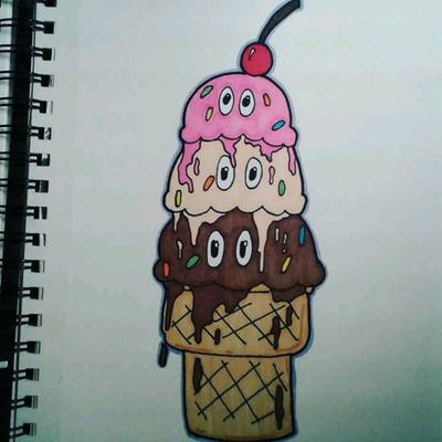 Ice cream drawing #icecream #icecreamcone #strawberry #vanilla #chocolate #cartoonish #cartoon #cartoons #newschool #colorful #marker #drawing #ink #inked