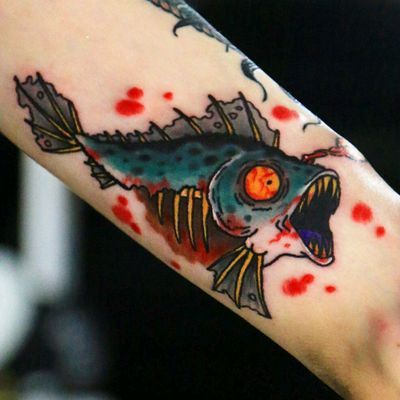 Zombie fish on the inside of my neautical sleeve🐟🐟🐟 Follow me on Instagram 1tombrennan Artist @siho_tattooist shop @inkholic #fish #zombie #neotraditional #neotraditionaltattoo #oldschool #oldschooltattoo #animals #sea #ocean