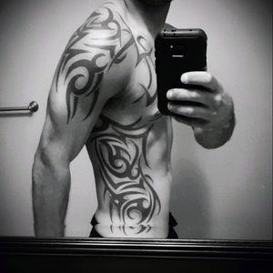 #Tribal #rib #chest #shoulder #arm