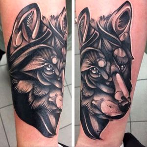 Black work wolf done at tooth and tiger tattoo collective, Wakefield west Yorkshire, england
