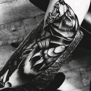 Black work grizzly bear from forearm to upper arm. Done at Tooth and Tiger tattoo collective, Wakefield West Yorkshire, England