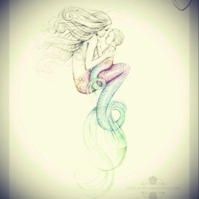 #MotherandChildTattoo #mermaid #mermaids #ocean #whimsical I love that it is a mother with her baby, #adorable