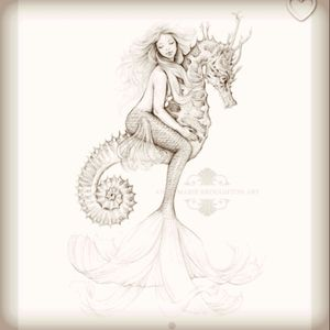 Another #mermaid - riding a #seahorse in the #ocean  #whimsical #mermaidtattoo