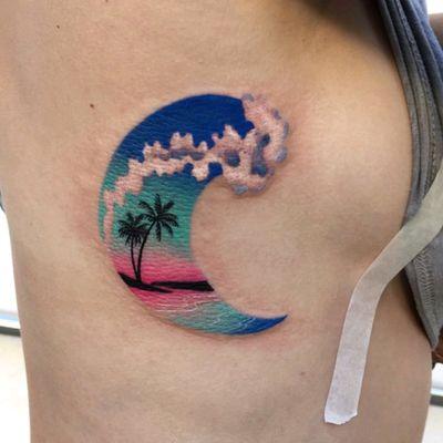 Summer Wave by #dariastahp #wave #watercolor #palmtree #tropical