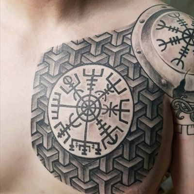 Incredible work by Jose Malabares of Malabares tattoo studio in Stjørdal, Norway. No filter added. #viking #vikingtattoo #Runes #nordic #NordicTattoo #chesttattoo #geometric #chestpiece