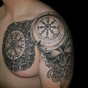 Incredible work by Jose Malabares of Malabares tattoo studio in Stjørdal, Norway. No filter added. #viking #vikingtattoo #Odin #Runes #nordic #NordicTattoo #chesttattoo #geometric #shield #chestpiece #shouldertattoo #quartersleeve