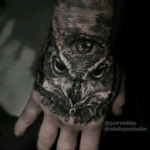 #owl #handtattoo #blackandgrey #realism