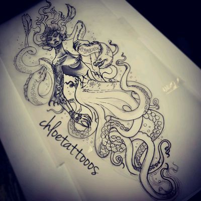 Design for a calf. #design #mermaid #neotraditional #blackandgrey #octopus