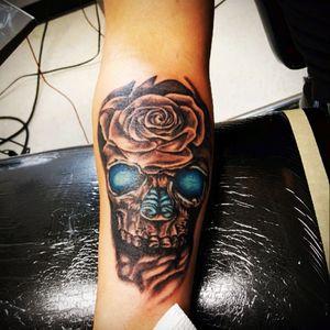 #BlueEyes#Skull#Rose