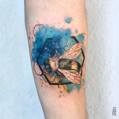 By #YelizÖzcan #watercolor #bee #insect #beetattoo