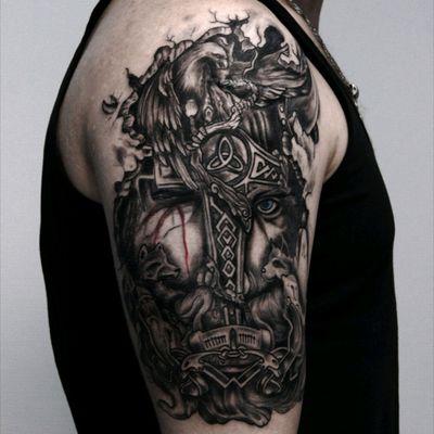 Tattoo art by Andrey Zelenev @zelenev36vrn from Napalm Tattoo Club Russia, Voronezh #upperarm #blackandgrey #Odin #viking #god #tattoo #tattoovrn #napalmtattoo