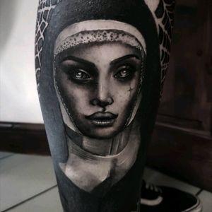 Satanic nun as part of a leg sleeve I'm working on 👹 #tattoo #tattoos #tattooed #ink #Londontattoos #blackandgreytattoos #blackandgreyrealism #blackandgrey #blackwork #blackworktattoo #blackworkers #darkartists #art #artonskin #tattooart #illustration #tattooartist #design #tattoodesign #customdesign #customtattoo #kingscross #inked #uktta #tattoodo #nun #nuntattoo #posessed #creepy #horrortattoos #creepytattoos