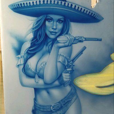 #TimLowery @tim_lowery_arts #Airbrush artist #Realism #Portrait #Girl #Mexican #Charra #Mariachi #Thug #FineArt