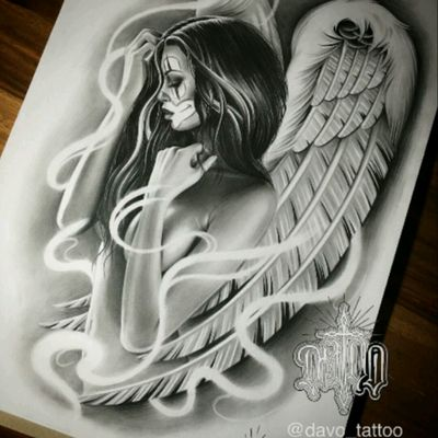 "#DanielVogt ""DAVO"" @davo_tatto #ChicanoStyle #Chicano #Realism #Drawing #Angel #Payasa #Thug #FineArt"