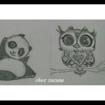 Quand on trouve des dessins mignoooon. Hihi #tatouage #tattoo #passiondudessin #chouette #panda #mignon #acroquer #entrainement