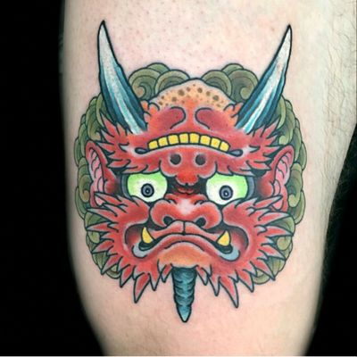 Happy or angry oni by Henning Jørgensen For info or bookings pls contact us at art@royaltattoo.com or call us at +45 49202770 #royal #royaltattoo #royaltattoodk #royalink #royaltattoodenmark #helsingørtattoo #ElsinoreInk #tatoveringidanmark #royalsouveniers #thegreatdane #tatovering #japanese #oni
