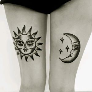 Traditional sun and moon on back of thigh #traditional #sunandmoon #blackandwhite #sun #moon