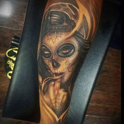 First ever #realism tattoo #gangster #badbitch #blackandgrey #dayofthedead #dayofthedeadgirl #blackandgreytattoo #sexyeyes