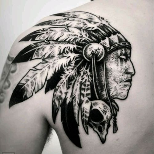 Echos from the native past #nativeamerican #indian #dark #dotting #crow #skull #feathers #dotting