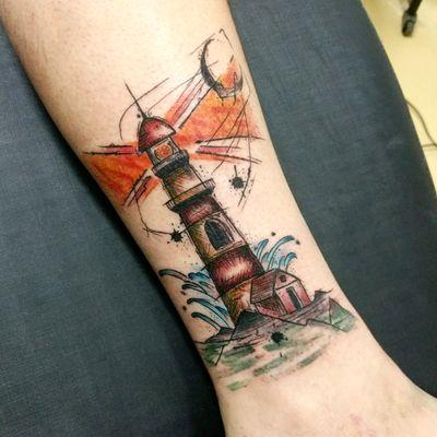 Lighthouse. #tattoo #tatuagem #tatuaje #watercolor #lighthouse #colortattoo