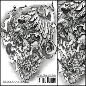 www.theblackhattattoo.com #blackhattattoo @blackhatsergy #eagletattoo  #bird #neotraditional #skulltattoo  #tattooideas