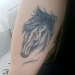 My horse tattoo on the inside of my upper right arm. #horse #black #shadow #blackandshadowed #animal