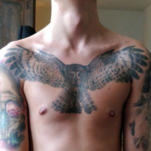 #realism #owl #blackandgrey  #chestpiece #wings #animal #wildlife #lefthandtattoo