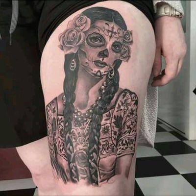#SoulHunterTattoo @josebandera #Realism #Portrait #BlackandGrey #SkullMexican #Catrina #Mexican