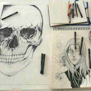 #tattoo #ink #inklovers #sketch #Anis #Anastasiatrigoutianis #blackwork #skull #blackwork #sketchbook