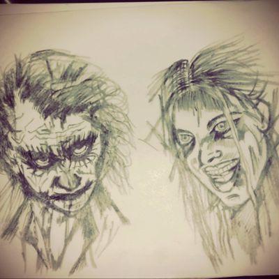 #Vorlage #skitze #stencil #tattooartist #tattooed #dreamtatto #mindblown #followme #followers #followforfollow #joker #harleyquinn