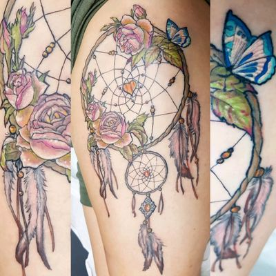 #dreamcatcher #rose #butterfly #colour #illustrative #thightattoo