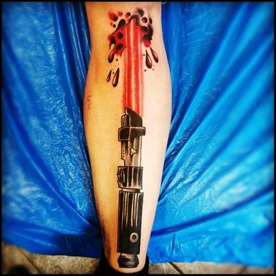 I used to be a Jedi, then i took a lightsaber in the knee! #Starwarstattoos #lightsaber #Darthvader #ouchyy