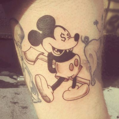 #MickeyMouse #mickey #disneytattoo #money #axe #newyork #washingtonheights #rootofeviltattoos