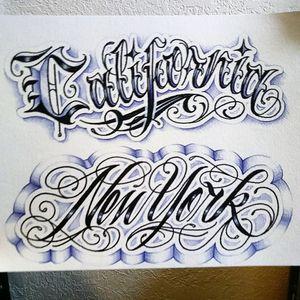#california #cali #ca To #newyork #nyc #rootofeviltattoos #washingtonheights #lettering #script #pen #drawing # #flashsheet