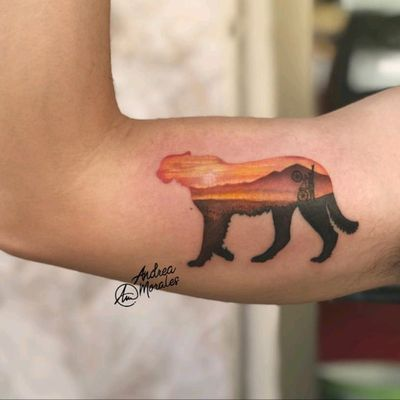 By #AndreaMorales #microtattoo #cheetah #mountains #bicycle #sunset