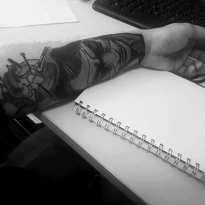 #tattooapprentice #myselftatooingfreak #jokertattoo #tattooart #blackandgreytattoo #ilovetattoo