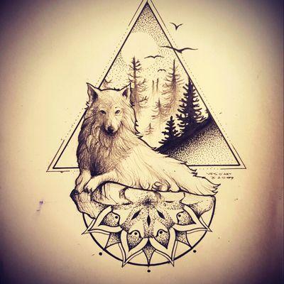 #dotwork #ink #tattoo #art #tattooart #tattoodesign #wolf #nature #landscape #mandalatattoo #mandala #inktober #linetattoo #blackandgrey #artist #drawing #illustration #design