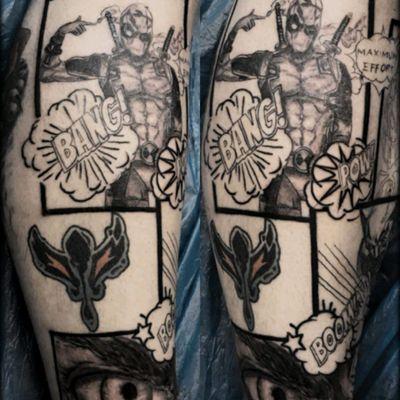 In progress ;) #marvel #sleeve #leg#deadpool #hulk #wolverine #thor #4sessions #comicbook #ideas #inprogress #bang #maximumeffort