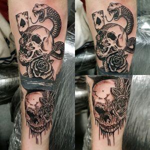 Skull cover up as part of sleeve #coverup #skulls #snake