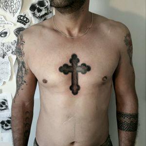 #tattoo #ink #linework #inklovers #blackwork #lineworktattoo #blacktattoo #cross #crosstattoo #tattooing #byAnis