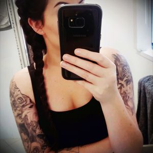 #mytattoos #halfsleeves #dayofthedead #roses #valkyrie