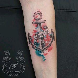 Tatuaj watercolor #watercolortattoo #tattoobucharest #tatuajebucuresti #tatuaje #tatuajefete #anchortattoo #tattooideea #cooltattoos anchor ..friendship. www.tatuajbucuresti.ro