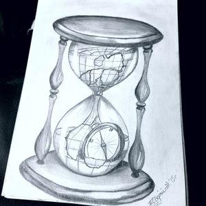 #myproject #hourglass #hourglasstattoo #compass #compasstattoo #globe #globetattoo