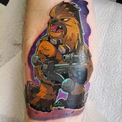 More of my colour work tattooing. Design by laufman. #tattoo #chewbacca #chewie #starwars #starwarstattoo #wookie #colour #newschool