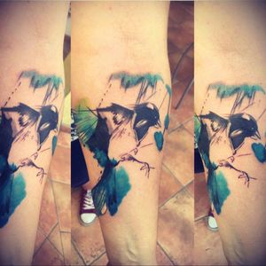 #watercolor #magpie #forearm #colorful