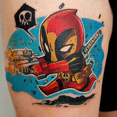 Deadpool tattooed by Phoenix #phoenixblaze #marvel #deadpool #cartoon #newschool #chibi #colour #superhero #superherotattoo #deadpooltattoo #tattoooftheday #cartoontattoo #marveltattoo