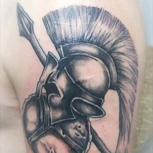 #ta2 #tattooart #tattooartist #tattooodessa #graphic #graphictattoo #shoulder #spartan #spartantattoo #helmet #greek #greektattoo #blackink #inkart #inkedboy