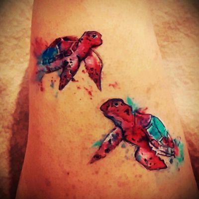 #watercolortattoos #turtles #sea #seacreature #tattooaddict