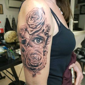 Black and gray rose and eyes tattoo  By Thedoud  #rose #rosetattoo #blackandgraytattoo